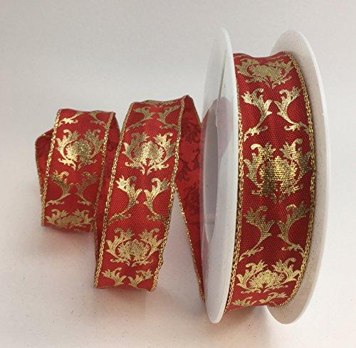 Luxus Kabel rot/gold Jaquard Design Band 25mm oder 40mm x 1m Cut Länge, 25 mm (Lurex-kabel)