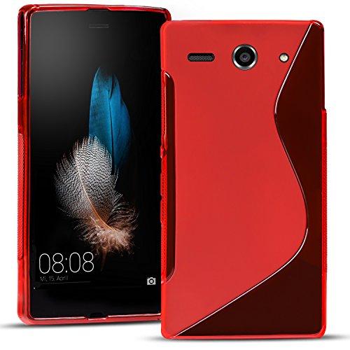 Conie SC13366 S Line Case Kompatibel mit Huawei Y530, TPU Smartphone Hülle Transparent Matt rutschfeste Oberfläche für Y530 Rückseite Design Rot