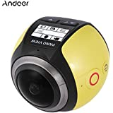 Yellow Color: Andoer V1 360 Panorama Camera Wifi 2448P 16MP Fisheye VR Camera Film Sport Camera Action Camera Camcorder