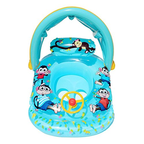 Artistic9 Baby Kinder aufblasbare Schwimmbad Boot Float Sitz Stuhl Swim aufblasbare Schwimmen Sicher Floß mit Sonnenschutz, himmelblau, 33.46x23.62 x 21.65 inch (Lx W x - Aufblasen Boot