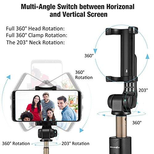 Bluetooth Selfie Stick Stativ, BlitzWolf Selfie-Stange Stab mit Bluetooth-Fernauslöse für iPhone X/ 8/ 7/ 7 plus/ 6s/ 6 Android Samsung Galaxy 3.5-6 Zoll Bildschirm- 3 in 1 Erweiterbar Monopod Mini Pocket Wireless Selfie Stick 360° Rotation (schwarz) - 3
