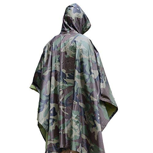 Aodoor Camuffamento Impermeabile Poliestere Poncho ,Coprizaino Impermeabile per Outdoor / Trekking / Campeggio / Escursione , Poncho Impermeabile, in ripstop