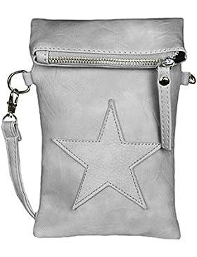 Mevina Damen kleine Stern Clutch Leder-Optik Tasche Umhängetasche Schultertasche viele Farben – 14x21x3 cm (B...
