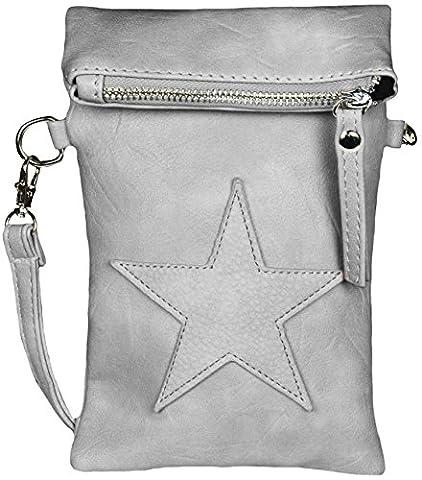 Mevina Damen kleine Stern Clutch Leder-Optik Tasche Umhängetasche Schultertasche Grau A1247