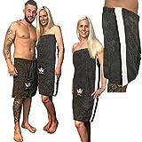 JEMIDI Sauna Frottee Kilt Sarong Damen oder Herren Anthrazit Grau mit Stickerei 100% Baumwolle Saunakilt Saunasarong Saunatuch Anthrazit/Weiß Herren