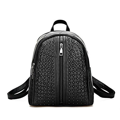 Damen Lässige Daypacks Niete Stil Schwarzer Rucksack Handtasche Leder Rucksäcke Für Frauen Schultasche (Schwarz Handtasche Uni Leder)