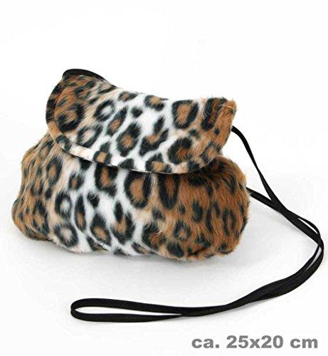 KarnevalsTeufel Plüschtasche, Verschiedene Designs, Umhängetasche, Tier-Prints, Accessoire, Ergänzung zu Ihrem Kostüm, Handtasche, Tasche, große Auswahl (Leopard) (Papier Tasche Kostüm)