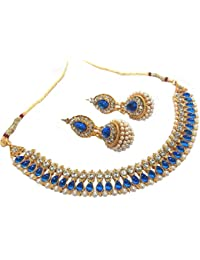 Shree Mauli Creation Blue Alloy Dark Blue Pearl Gota Neckalace Set For Women SMCN185
