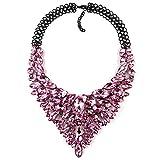 YAZILIND clásico Colgante de Piedras Preciosas Collar Retro suéter Cadena Accesorios Mujeres Fiesta joyería Regalo (Rosa roja)