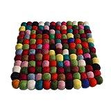 Maharanis Filz Untersetzer Topf Untersetzer kunterbunt quadratisch 22 x 22 cm handgefertigt aus reiner Wolle, hitzebeständig