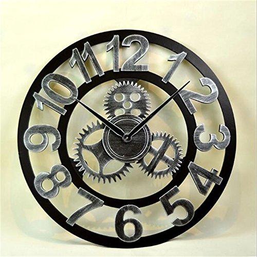 Wanddekoration Uhren Vintage Silent Wanduhr mit Creative Hollow Design mit arabischen Ziffer Display für Küche Wohnzimmer Home Office Hotel Geschenke European Antique 3D Gear Holz Wanduhr Silber Farbe -