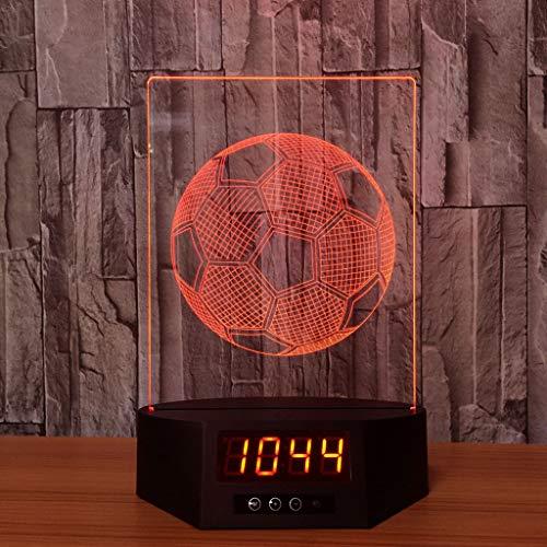 Bunte Wecker Nachtlicht, USB Aufladung 3D Stereo Touch kreative Home Desktop Fußball Dekoration Lichter