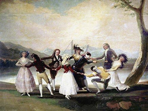 Artland Wandbild auf Alu-Verbundplatte Francisco José de Goya Blindekuh, 1791 Sport Spiele Malerei Natur 30 x 40 x 1 cm C2UX