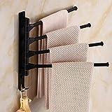 Global Brands Online Badezimmer Handtuchhalter Raum Aluminium Handtuchhalter 4 Arme 2 Haken Handtuch Bewegliche Wand montiert Schwinge