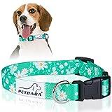PETBABA Hundehalsbänder, Gänseblümchen Verstellbar Weich Hunde Halsbänder - S in Grün
