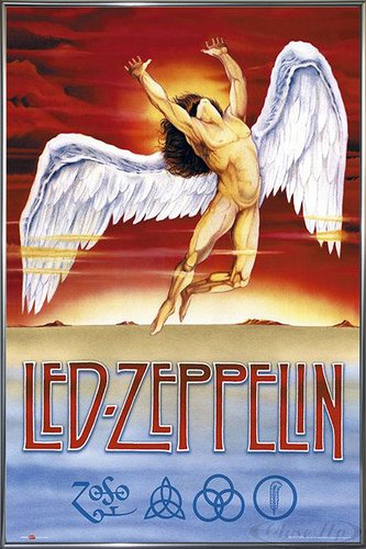 Close Up Led Zeppelin Poster Swan Song (93x62 cm) gerahmt in: Rahmen anthrazit metallic Led Zeppelin-swan Song-poster