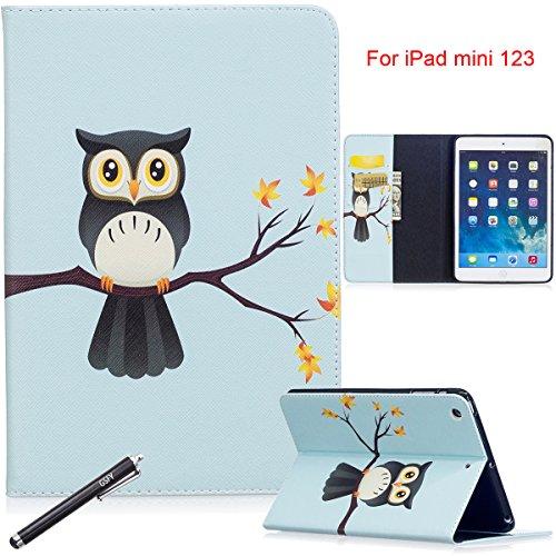 l, newshine (TM) Cute Flip Folio Smart Stand Cover/Haut mit [Auto Wake/Sleep Funktion] [Karte Slots/Cash Paket] [Halterung für Stylus] für Apple iPad Mini 123, 2 Owl in The Tree ()