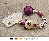 Baby SCHNULLERKETTE mit NAMEN | Schnullerhalter mit Wunschnamen - Mädchen Motiv Bär in natur, purpur