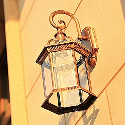 Outdoor Waterproof Wall Sconce Light European Style Wall Lamp Balcony Aisle Outdoor Lamp Retro Industrial Wind Bar Courtyard Stairs Bedroom Wall Lights E27 Lamp Cap Diameter: 20.5 cm ( Color : Bronze )