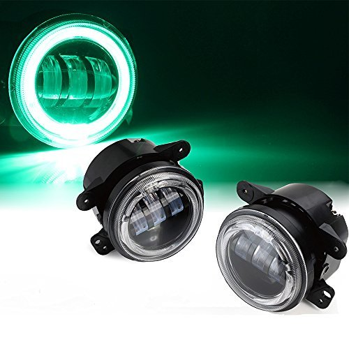 Xprite FL-R4IN-60W-DRL-G 4 Inch 10,16Cm 30W Cree Led Lumière Anti-Brouillard Drl Tracteur Bateau Auto Led Phare D'Hors Route With Halo Ring Lights Vert