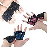 QEES Handschuhe Kurzfingerhandschuh Perfekt für Krafttraining Fitnessstudio Gym Sport Kraftsport Trainingshandschuhe für Gewichtheben fingerlose Handschuhe ST04 (L, Schwarz)
