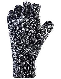 Mens Heat Holder Heatweaver Thermal Winter Warm Fingerless Gloves TOG 2.3 Charcoal