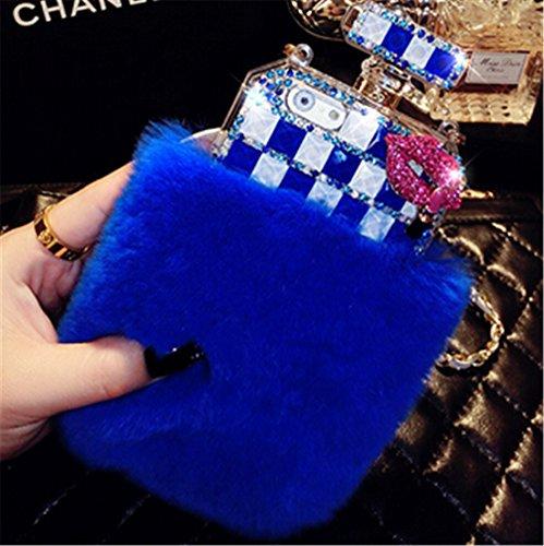 fusicase Luxus Parfüm Flasche Design Bling Rex Kaninchen Fell Bling Diamant Haar Sleeve Plüsch iPhone 55S Case Back Cover/6/6S/6PLUS 6S Plus + 1Ständer als Geschenk, zufällige Farbe, iPhone X, blau (5s Iphone Fall Kartenhalter)