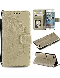 Leeook - Funda de piel sintética con tapa para iPhone 6S Plus de 5,5 pulgadas, diseño de flor de tótem en relieve, estilo libro, ranuras magnéticas para tarjetas, correa de muñeca, color oro rosa y dorado, dorado