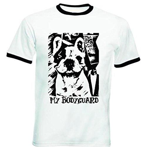 teesquare1st Women's French Bulldog My Bodyguard PB 32 Black Ringer T-Shirt Size Medium