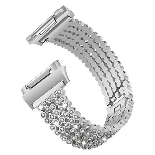 Edelstahlarmband für Fitbit Ionic von YuStar - Verstellbares, juwelenbesetztes Luxus-Ersatzarmband für das Fitbit Ionic Fitnessarmband M silber