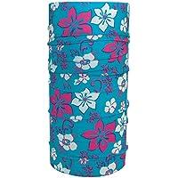 ebos Pañuelo multifuncional✓Braga de cuello| Bufanda multiusos | Bandana | Pañuelo de cuello | Pañuelo de cabeza | versátil e ingenioso | diferentes diseños (Flores turquesa)