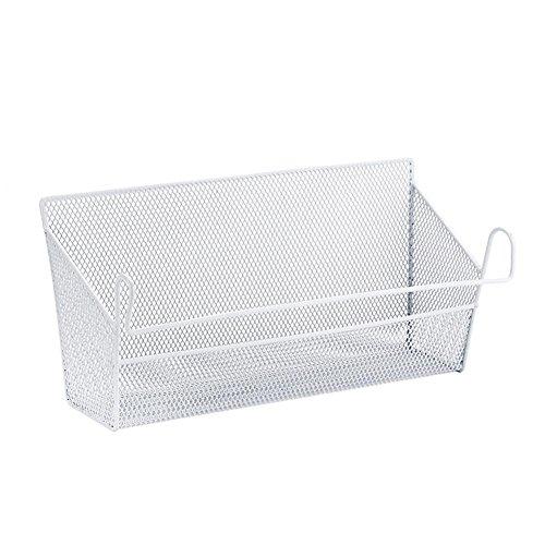 Househome sospesi in metallo porta cestino, supporto portaoggetti da cucina di filo di ferro cestino portaoggetti di bagno mensola a spezie bianco