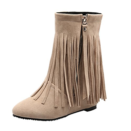 UH Damen Keilabsatz High Heels Stiefeletten mit Fransen Wedge Ankle Boots Vintage Schuhe