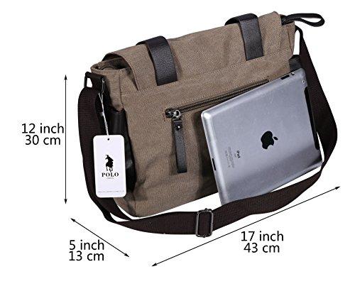 VIDENG POLO Herren Messenger Bag Jahrgang Canvas Duffel Tasche Schultertasche Sporttasche Reise Handtasche,4 Größe Khaki-pmc4