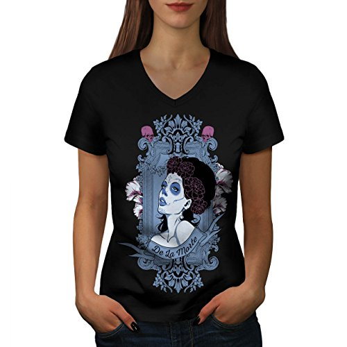 Girl De La Morte Horror Women S V-Ausschnitt T-Shirt | Wellcoda (T-shirt Womens Teufel Dunklen)