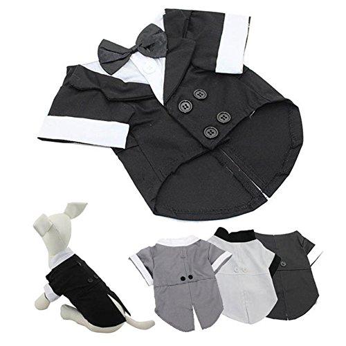 100% Baumwolle Tuxedo (Hund Katze Anzuege Tuxedos Smokingsakko Anzug Party Shirt Welpen Hochzeit Hemden Haustier Formelle Kleidung Blouse Hundemantel mit Bowknot Krawatte Schwarz XL)