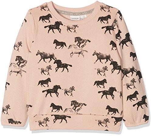 Ls Pullover Top (NAME IT Baby-Mädchen Sweatshirt Nitditan LS Swe Top Bru F Mini, Mehrfarbig (Evening Sand), 104)