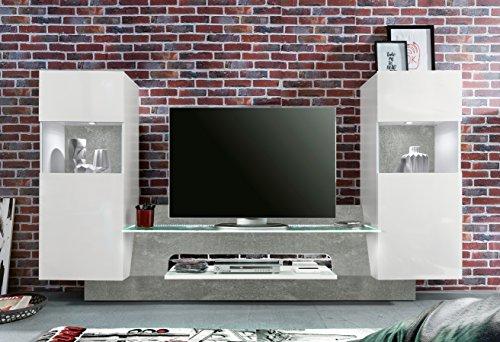 trendteam AR00235 Wohnwand TV Möbel Weiß Glanz, Absetzung Grau Beton Nachbildung, BxHxT 261x147x47 cm - 4