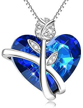 Kette Damen Sterling Silber Halskette Damen Anhänger mit Kristall Kristallherz SWAROVSKI® Steinen