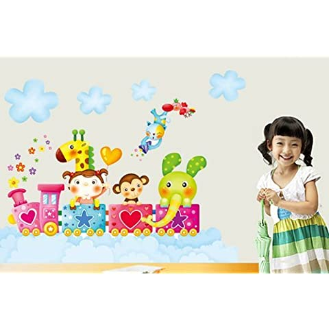 Free Will bambina, giraffa, scimmia, elefante, in treno Cloud-Adesivo da parete per la camera dei bambini, adesivi da parete - Scimmia Treno