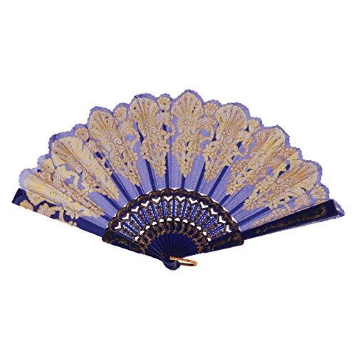 Andouy Retro Faltfächer/Handfächer/Papierfächer/Federfächer/Sandelholz Fan/Bambusfächer für Hochzeit, Party, Tanzen(23cm.Blau)