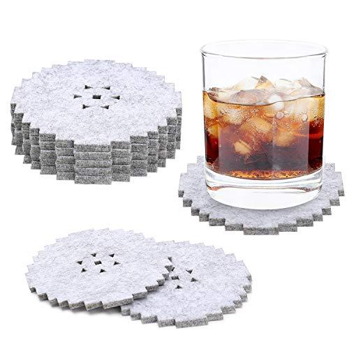 Untersetzer für Getränke, 8 Stück, saugfähig, Filz-Untersetzer, Premium-Verpackung, perfektes Einzugsgeschenk, schützt Möbel Gear grau