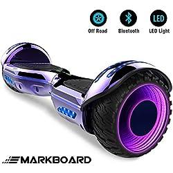Markboard Hoverboard SUV 6.5 Pouces, Gyropode Tout-Terrain 700W, avec Roues LED Flash, Haut-parleur Bluetooth et LED, Scooter Électrique Auto-équilibrage