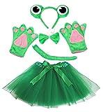 Frosch-Kostüm für Mädchen, grün, 5-teilig mit Haarreif, Schleife, Schwanz, Handschuhen und Tutu, für Geburtstage oder Partys Gr. One size, grün