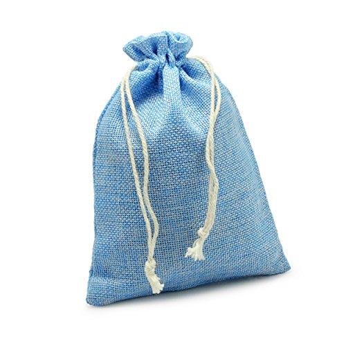 Ganzoo 24er Set Jutesäckchen für Adventskalender zum selbst befüllen, 17,5cm x 12,5cm, Jutebeutel, Stoffbeutel, Natur Säckchen, Geschenksäckchen, Sack, Beutel - Marke (Hellblau)