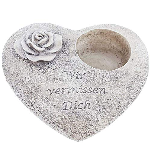 SIDCO Grabschmuck Herz Grab Deko Grabkerze Spruchstein Grableuchte Grablicht Rose