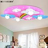 JJ moderna lampada da soffitto LED accogliente nuvole Arcobaleno sala per bambini lampada LED luce da soffitto per ragazzi e ragazze camera da letto lampade di illuminazione 730*400*120mm cartoon, rosa ,220V-240V