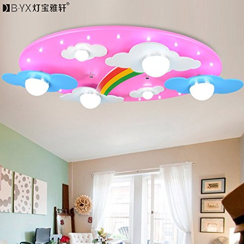 JJ LED modernes ceiling lamp accueillant les nuages rainbow children's room lamp plafonnier LED pour les garçons et les filles l'éclairage de la Chambre des lampes 730*400*120 mm cartoon, rose, 220V-240V
