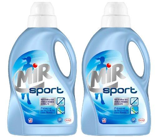 Mir Lessive Liquide pour Vêtements de Sport Flacon de 1,5 L 25 Lavages - Lot de 2