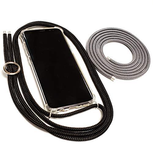Pink Cinnamon Set Handykette mit Smartphone Hülle Plus Wechselband für iPhone X/XS Band: Black, Wechselband: Charcoal Grey, Metallteile: Silber